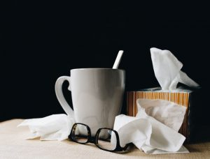 Image of tea, glasses, Kleenex.