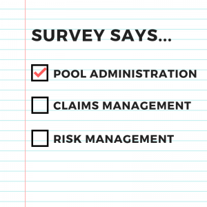 Image of survey headers with check boxes. Pool Administration, Claims Management, Risk Management.